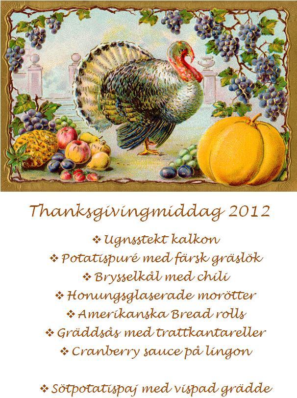 Thanksgivingmeny 2012