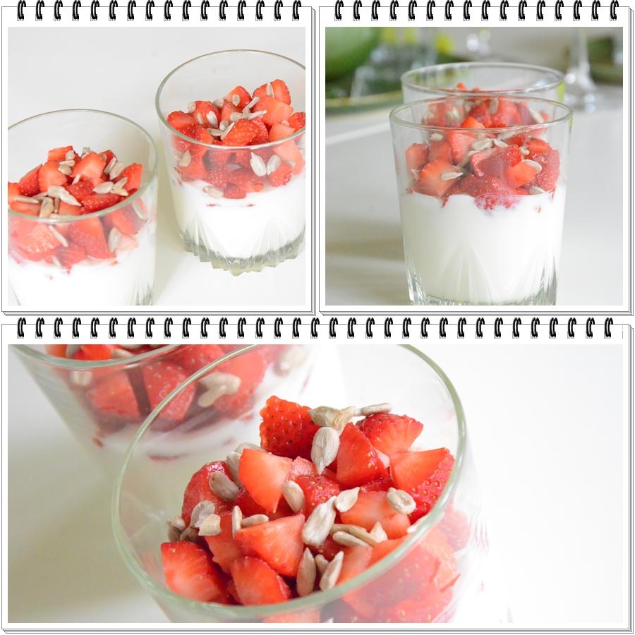 yoghurt och jordgubbar i glas