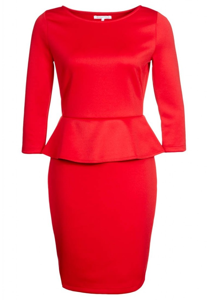 röd peplumklänning