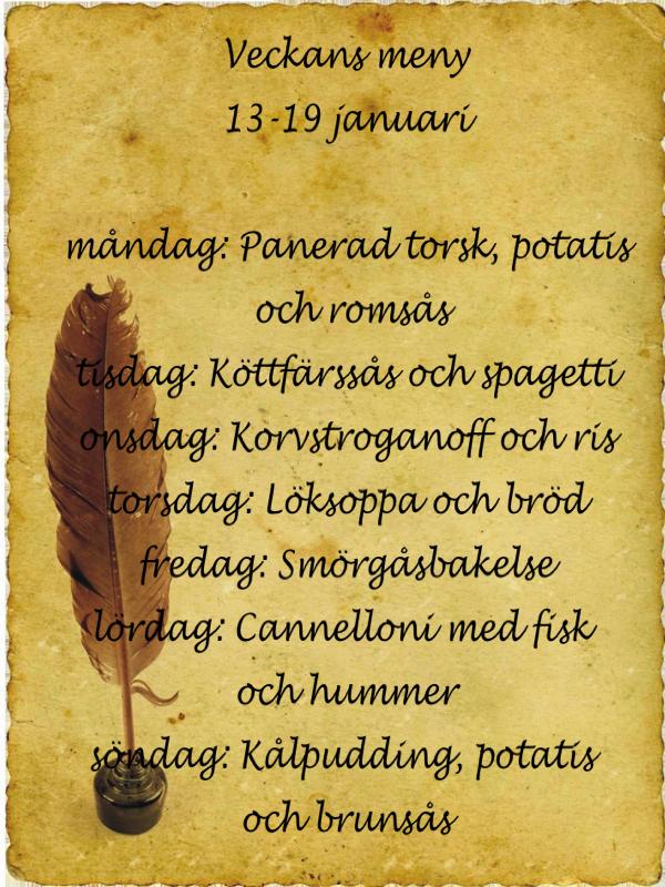 Veckans meny 13-19 januari