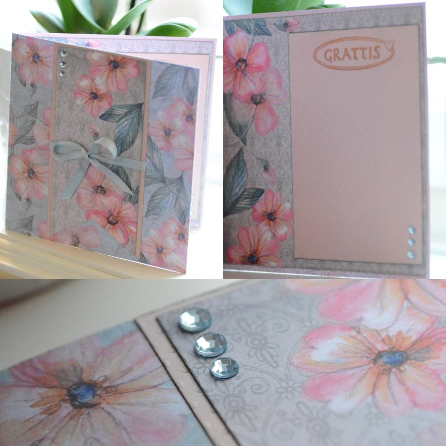 Kort i rosa och grått med blommor
