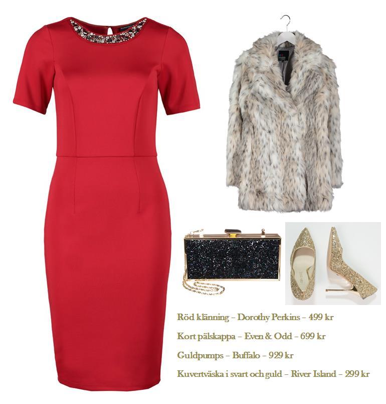Röd klänning och pälsjacka outfit
