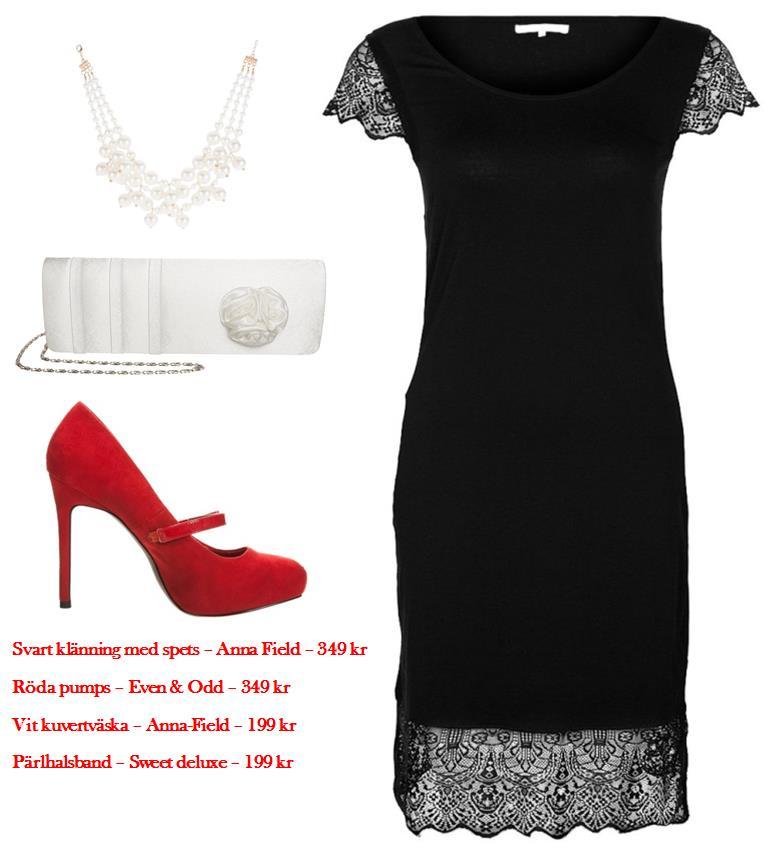 Svart vit och röd outfit