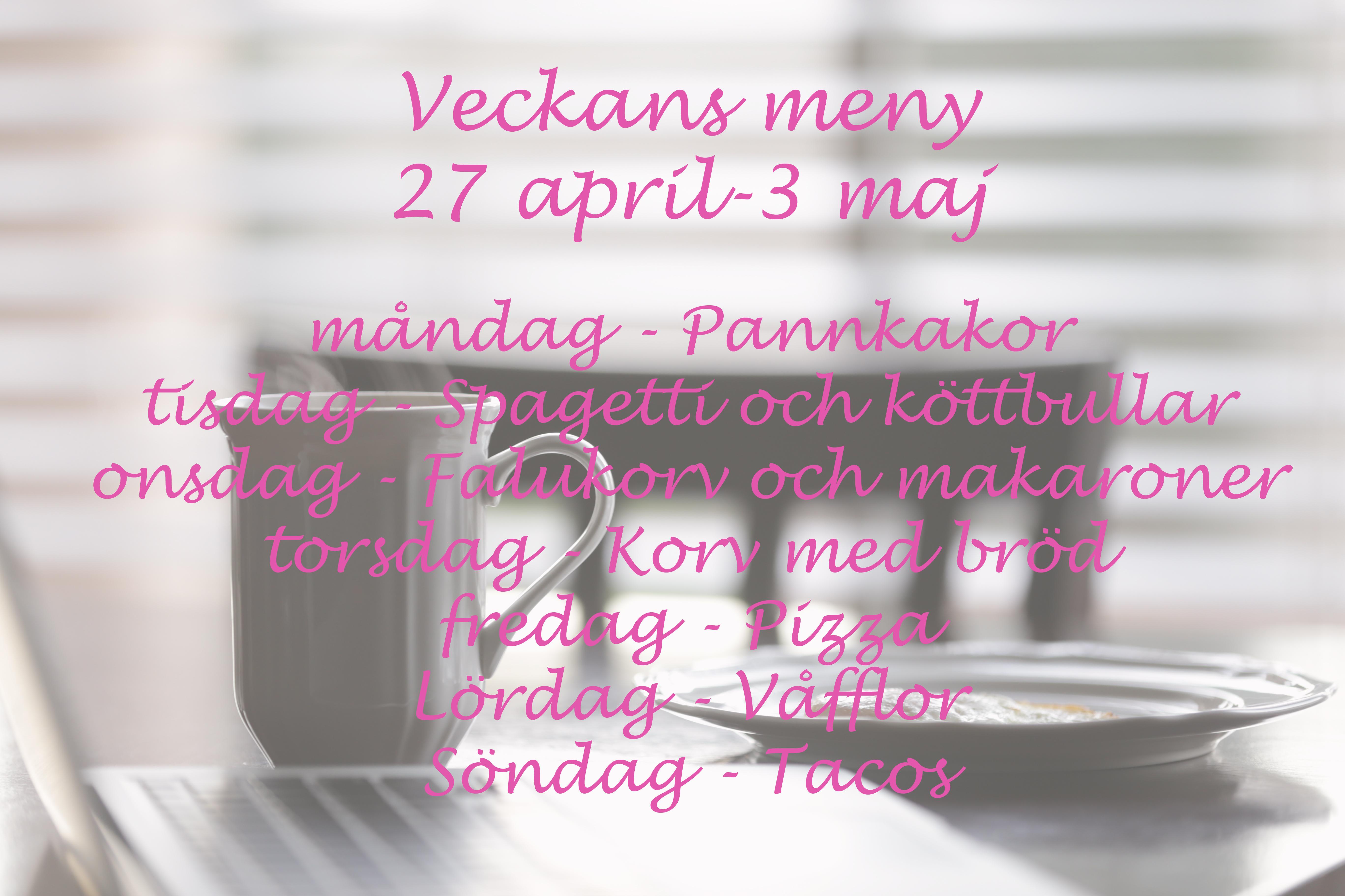 meny 27 april till 3 maj